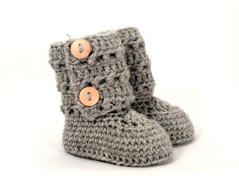Tall Eyelet Lace Baby Booties in Gray Merino Wool