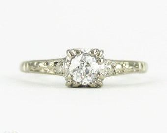 Antique Old Mine Cut Diamond Engagement Ring, 0.22 ct Diamond in Delicate Engraved White Gold & Platinum Setting. Circa 1920s.