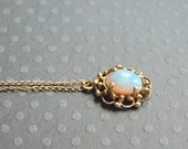 SALE Antique Victorian 1800s 1ct Natural Opal Gemstone / 14k Gold Wreath Pendant Charm / Accessories / Vintage Opal Pendant / Gift for Her