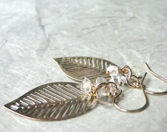 SALE Jewelry, Gold Leaf Earrings, Herkimer Diamond and Topaz Stones, Modern Earrings, Gemstone Earrings, 14k Gold filled Hoops, Gift Box