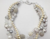 Silver clear lucite ivory pearl chain chunky braided twisted statement necklace