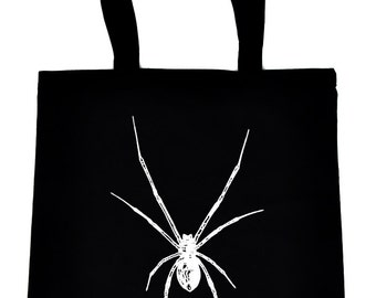 White Black Widow Spider Tote Bag Handbag