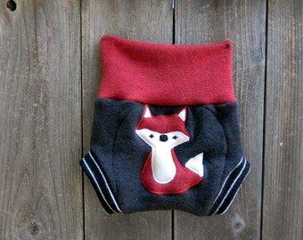 Upcycled Merino Wool Soaker Cover Diaper Cover With Added Doubler  Charcoal Gray/ Red With Fox  Applique MEDIUM 6-12M