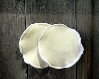 Nursing Pads Absorbent Breastfeeding Pads One Pair Three Layers Organic Merino Wool Interlock /Upcycled Wool /Bamboo Velour