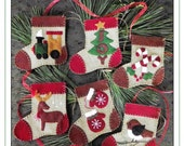 Wool Applique Pattern and Kit, Warm Feet, Christmas Stocking Ornaments, Rachel's of Greenfield, PATTERN AND KIT