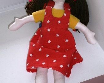 Pippa the rag doll Handmade rag doll Alan Dart pattern