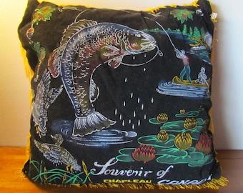 Vintage Souvenir Fishing Canada hand-painted Pillow // fisherman // man cave // vintage retro pillow // throw pillow