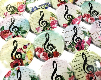 "Floral Music Staff Magnet, 1.5"", Button Magnet, Music Button, Music Magnet, Music Gift, Staff Decor, Music Notes, Music Party Favor, Crafts"