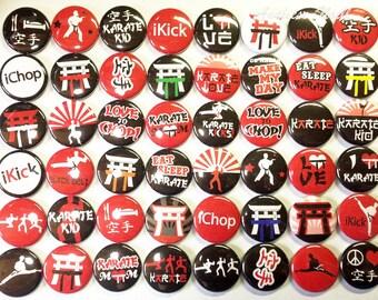 "Karate 1"" Buttons, Karate Party Favors, Karate Parties, Krate Pins, Karate Buttons, Karate Pinbacks, Karate Flatbacks, Karate Magnets, Fight"