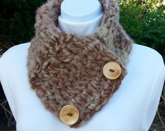 NECK WARMER Scarf, Buttoned Cowl, Natural Beige Taupe Brown Rust, Large Buttons, OOAK Soft Handmade Crochet Knit Scarflette..Ready to Ship