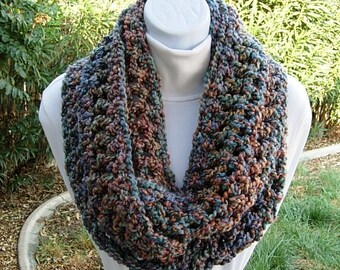 Colorful CROCHET INFINITY SCARF Loop Cowl, Rust Blue Teal Green, Thick Extra Soft Winter Chunky Bulky Knit Circle..Ready to Ship in 3 Days