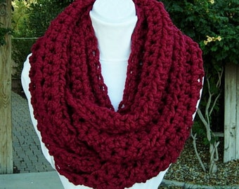 Ready to Ship Large INFINITY SCARF Dark Solid Red Crochet Loop, Oversized Cowl, Bulky Chunky Wide Soft Wool Blend Knit Winter Circle Big