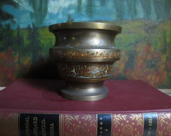 Vintage Brass Pot India Hand Painted Hand Carved Metal Cup Etched Enamel Solid Brass Vase Bowl Vessel Urn Container Boho Gypsy Ethnic Decor