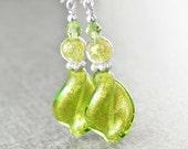 Green Murano Glass Earrings Sterling Silver Earrings Peridot 24k Gold Foil Venetian Glass Earrings Spiral Twist Green Drop Dangle Earrings