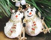 Snowman Earrings Christmas Gift Idea Winter Earrings Snow White Gold Earrings Snowman Charm Skis Holiday Jewelry Christmas Earrings