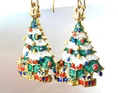 Christmas Tree Earrings 14K Gold Fill Red Green Earrings Christmas Gift Idea Winter Holiday Jewelry Colorful Christmas Earrings