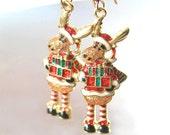 Moose Santa Earrings 14k Gold Fill Green Red Christmas Earrings Winter Holiday Jewelry Coloful Chistmas Earrings Gift Idea