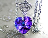 Purple Heart Necklace Sterling Silver Chain Swarovski Purple Crystal Heart Necklace Iris Purple Heart Pendant Necklace Heart Jewelry