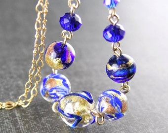 Cobalt Sapphire Blue Murano Glass Necklace 24k Gold Foil Venetian Blue Glass Pendant Necklace 14k Gold Fill Necklace
