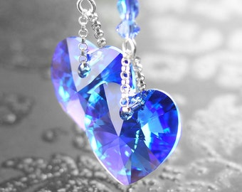 Sapphire Blue Heart Earrings Sterling Silver Swarovski Blue Crystal Heart Sapphire Earrings September Jewelry Blue Heart Drop Earrings