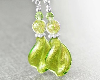 Green Murano Glass Earrings Sterling Silver Earrings Peridot 24k Gold Foil Venetian Glass Earrings Spiral Twist Green Drop Dangle Earrings