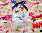 1 Christmas Name Decal for Ornament  plus dots - Personalized Name Ornament - Polka Dots - Decals - santasgiftshoppe