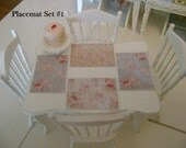 Set of 4 Shabby Chic PLACEMATS - 1:12 Scale Dollhouse Miniature