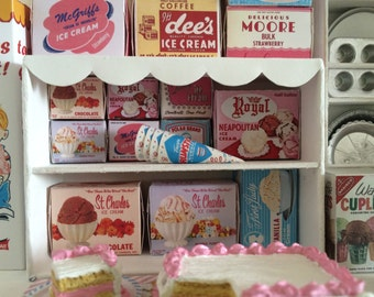 Vintage ICE CREAM BOXES - Choose a Scale 1:12 or 1/6 Scale Miniature
