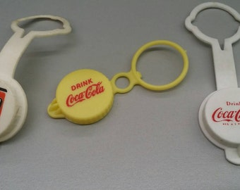 Three Vintage Advertising Soda Pop Closure Lids Coca Cola and 7 Up