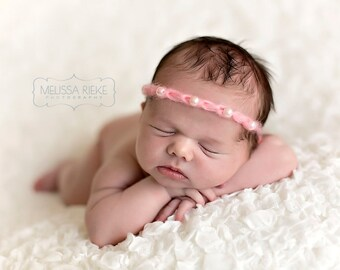Pink Five Pearl Mohair Halo Tieback Headband Newborn Photography