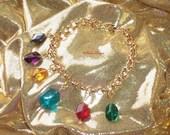 Legend of Zelda Rupees Charm Bracelet Glass Bead Charms Gold tone Bracelet Custom Handmade by TorresDesigns - Ready To Ship