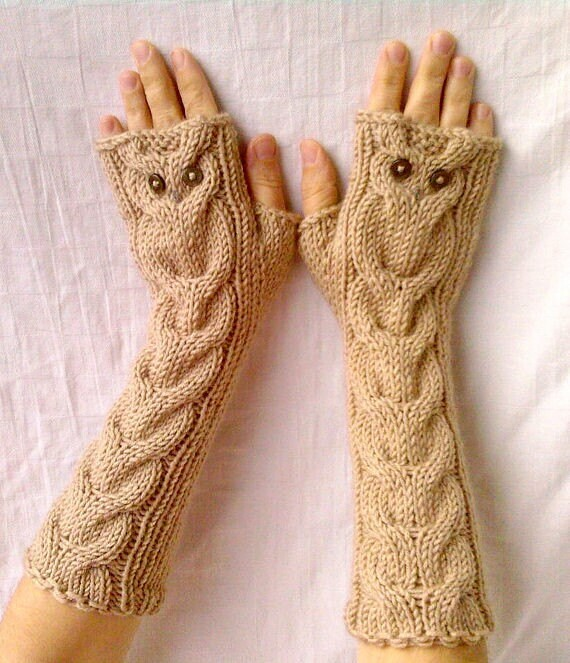 Owl Beige Oatmeal Long Hand Knit Cable Pattern by NastiaDi