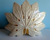 Mid Century TV Lamp - Leaf Design with Gold Accents - 1950s TV Light