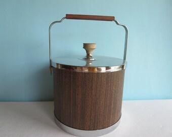 Vintage Ice Bucket - Faux Wood Grain - Wooden Handle