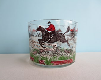 Vintage Glass Ice Bucket Decorated with Horses, Horseback Rider and Dogs
