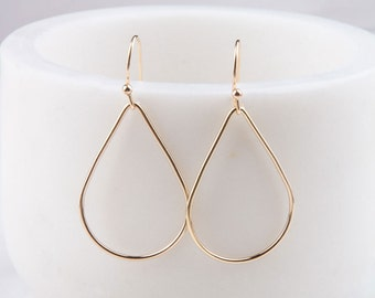 Gold Filled Teardrop Wire Hoop Earrings, Geometric Shape Earrings, Gift for Her, Everyday Earrings, Hoop Earrings, Minimal, Simple, Dainty