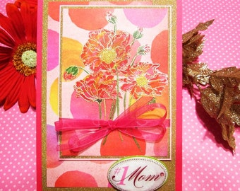 Handmade MOM'S BIRTHDAY CARD with gold embossed watercolored bouquet, Mother Birthday card