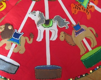 "Christmas Tree Skirt Felt Carousel Animals Merry Go Round Large 48"" Round Finished Tiger Camel Lion Giraffe Horses Sequins Beads Bling"