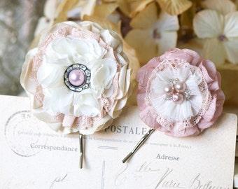 Bridal Hairpins, Pink Floral Hair Pins, Wedding Hair Flowers, Bride Hairpiece, Bridesmaid Hair Accessories, Pearl Bobby Pins