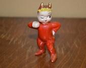 Vintage red devil Lefton figurine little collectible figure - cute devil RARE