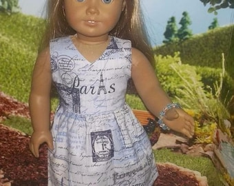 """Paris Blue dress and shoes complete outfit fits 18"""" American Girl Grace doll"""