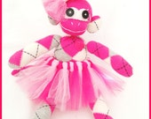 Precious Pink Argyle Sock Monkey w/tutu and bow-One of A Kind-FOR LIZ