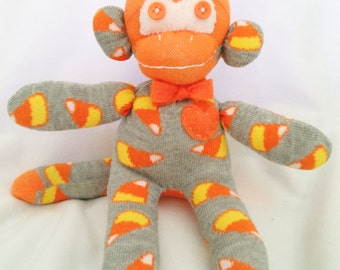 Carl Candy Corn Sock Monkey-with bowtie-One of A Kind-1 Monkey-Ready 2 Ship