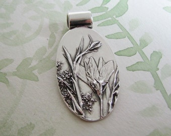 Wildflowers No. 2, Flower Pendant, Natural Plant Reproduction, Artisan Handmade by SilverWishes, Recycled Silver