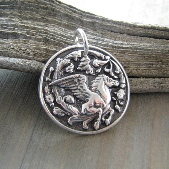 Wings, Handmade Fine Silver Horse Pendant, Winged Horse, Personalized Equestrian Jewelry
