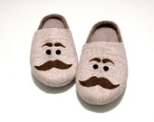Felted - Natural wool slippers - Mens wool slippers - Mens house shoes with moustache
