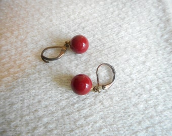 Vintage Faux Coral Bead Drop Pierced Earrings