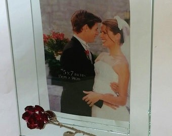 Glass Picture Frame With Red Crystal Rose - Holds 5x7 inch Photograph