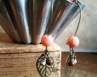 Beaded Leaf Earrings, Brass Filigree Leaf Earrings Made With Vintage Coral and Wood Beads, Bohemian Jewelry, Gift Idea for Her