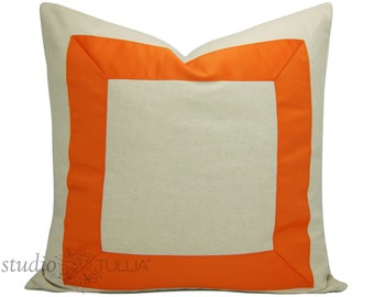 Orange Ribbon Pillow Cover  - You Choose size between 17 to 26 inches - Orange Ribbon embellishment - euro sham - made to order